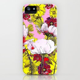 GARDEN FLOWERS IN  PINK-YELLOW- RED DRAWING iPhone Case