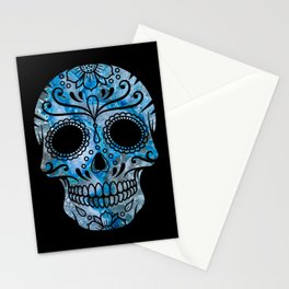 Blue Lace Sugar Skull Stationery Cards