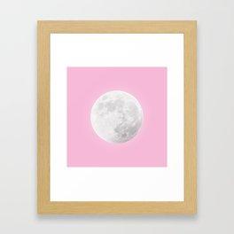WHITE MOON + PINK SKY Framed Art Print