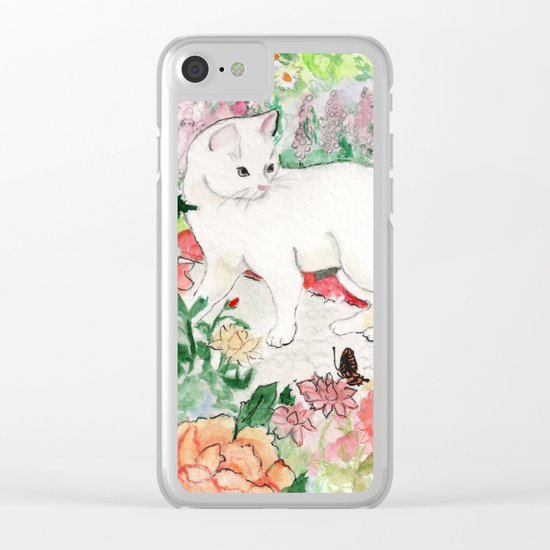 White Cat in a Garden Clear iPhone Case