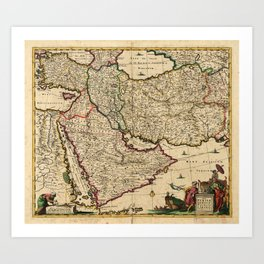 Map of the Middle East (1666) Art Print