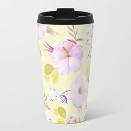 Modern hand painted pink lavender yellow watercolor floral Travel Mug