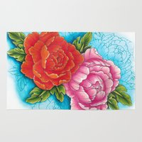 peonies Area & Throw Rugs featuring peonies by missfortunetattoo