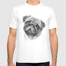 The Pug G123 White Mens Fitted Tee MEDIUM