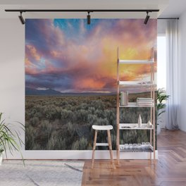 Enchanted Evening - Colorful Storm Cloud Over Desert near Taos, New Mexico Wall Mural