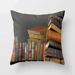DECORATIVE  ANTIQUE LIBRARY, LEDGERS &  BOOKS ART Throw Pillow