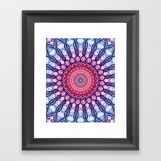 Ornamented mandala in pink and blue tones Framed Art Print