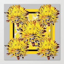 Abstracted Grey-Yellow Chrysanthemums Floral Canvas Print