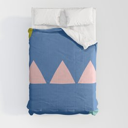 Colorful Simple Minimalist Geometrics in Blue, Pink, and Yellow Comforters