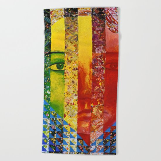 Conundrum I - Abstract Rainbow Goddess Beach Towel