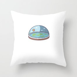 Flat Earth In Flat Brains - Funny Conspiracy Throw Pillow
