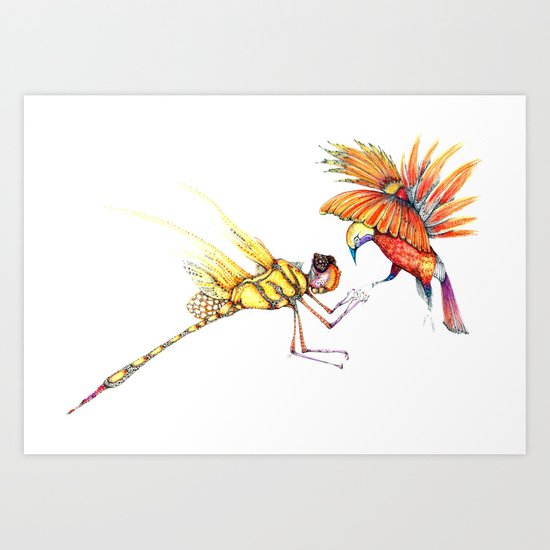 Holiday drawings:  Dragonfly & Bird of paradise Art Print