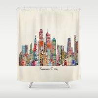 kansas city Shower Curtains featuring kansas city Missouri skyline by bri.buckley