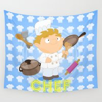 chef Wall Tapestries featuring Chef by Alapapaju
