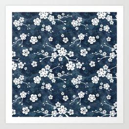 Navy and white cherry blossom pattern Art Print