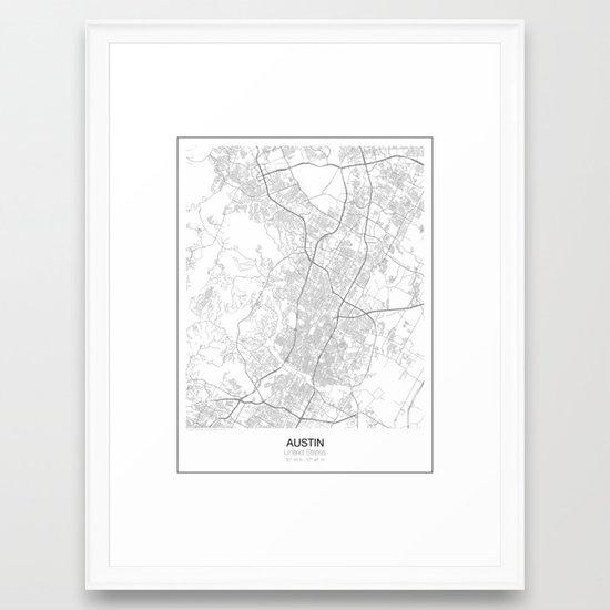 Austin, Texas Minimalist Map Framed Art Print by resfeber | Society6