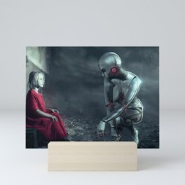 Girl and Android (Futurism) Mini Art Print