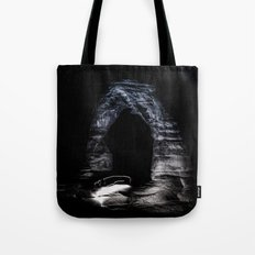 Nature Night Sky - Vintage Black and White Delicate Arch at Arches National Park Utah Tote Bag
