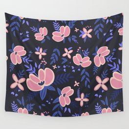 Pink Flowers Pattern 1 Wall Tapestry