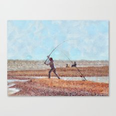 Beach Casting At Dungeness Canvas Print