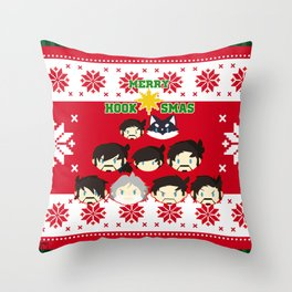 MerryHooksMas Throw Pillow