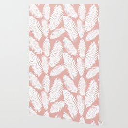 White Tropical Palm Tree Fern Leaf on Rose Gold Pattern Wallpaper