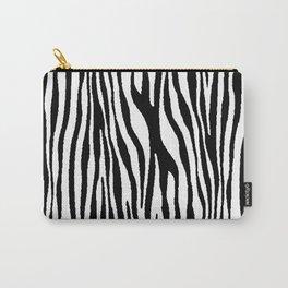 Vegan Zebra Fur Animal Print Design (Black) Carry-All Pouch