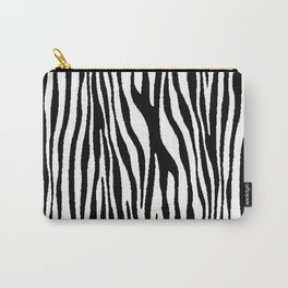 Vegan Zebra Fur Animal Print Design (Black) Carry-All Pouch