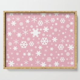 White & blush pink snowflake pattern Serving Tray