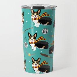 Corgi tricolored witch wizard magic dog breed gifts Travel Mug