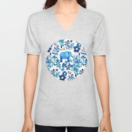 Blush Pink, White and Blue Elephant and Floral Watercolor Pattern Unisex V-Neck