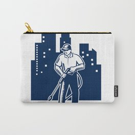 Pressure Washing Buildings Woodcut Retro Carry-All Pouch