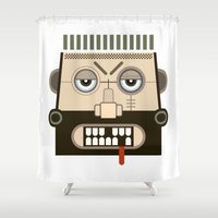 mythology Shower Curtains featuring Starkad's Face. Scandinavian. Norse Mythology by FOUR SECOND MEMORY