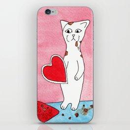 Meow The Cat Valentine's Day Chocolate Sadness Binge iPhone Skin