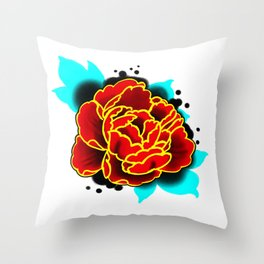 Red Peony  Throw Pillow