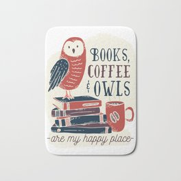 Books, Coffee & Owls Bath Mat