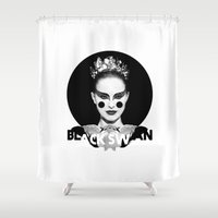 black swan Shower Curtains featuring Black Swan by Cut and Paste Lady