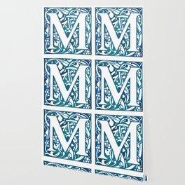 Letter M Antique Floral Letterpress Wallpaper