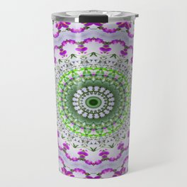 Purple Wildflower Kaleidoscope Art 4 Travel Mug