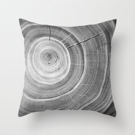 Detailed black and white reclaimed wood tree with circle growth rings pattern Throw Pillow