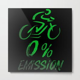 Cyclists 0 Percent Emissions Metal Print