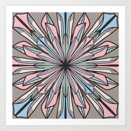 Modern Pink Gray Geometric Abstract Flower Drawing Art Print