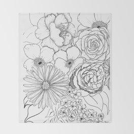 Flower Bouquet Black and White Illustration Throw Blanket