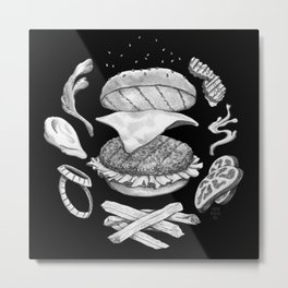 Burger Diagram (Black and White variant) Metal Print