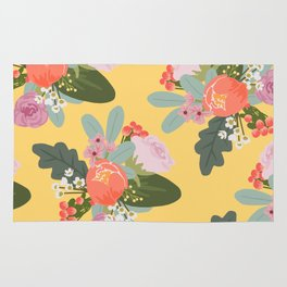 Peach and Yellow Floral Rug