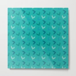 Random Arrows in Blue and Teal on Turquoise Metal Print