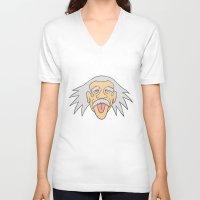 einstein V-neck T-shirts featuring Einstein by martinashdesign