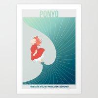 ponyo Art Prints featuring Ponyo by Josh Smiertka