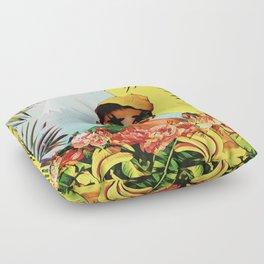 Girl in the jungle Floor Pillow