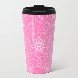 mandala kaleidoscope pattern pink white Travel Mug